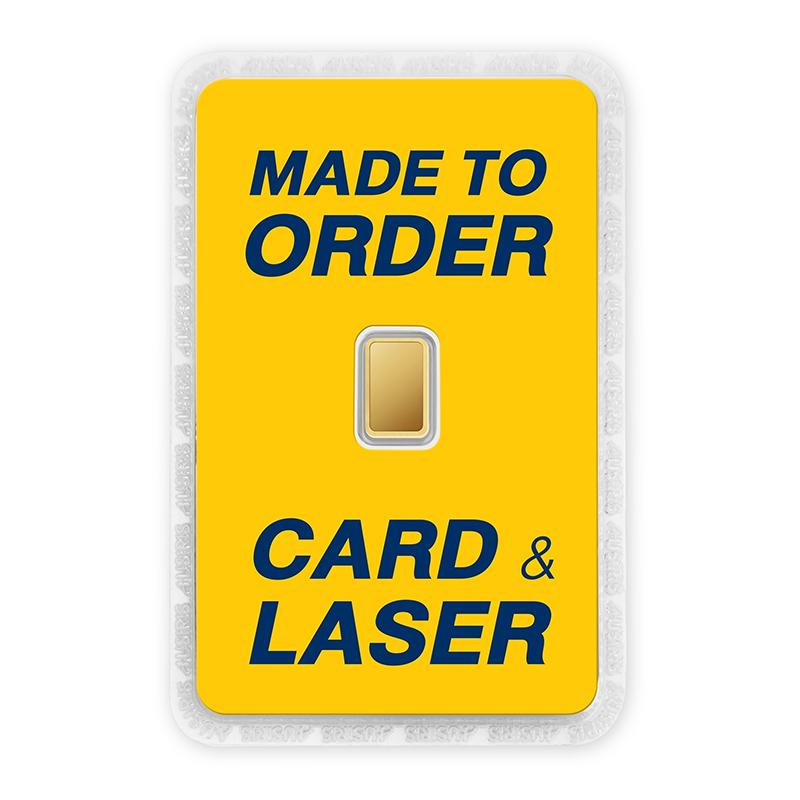 ทองคำแท่ง 1 กรัม สั่งเลเซอร์หน้าทอง สั่งทำการ์ด Custom Card