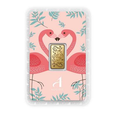 ทองคำแท่ง 1 สลึง For my Love การ์ดลายนกฟลามิงโก้ บนพื้นชมพู