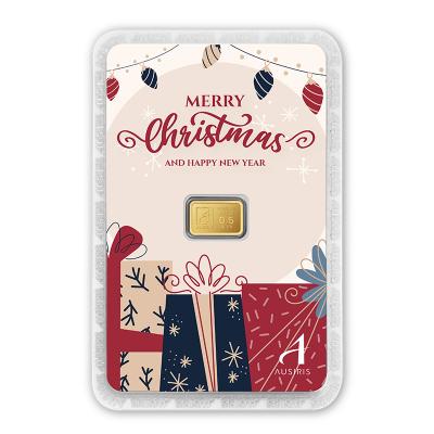 ทองคำแท่ง 0.6 กรัม Merry Christmas การ์ดลายกล่องของขวัญ