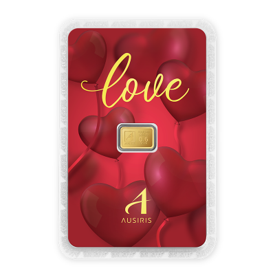 ทองคำแท่ง 0.6 กรัม การ์ด Love ลายหัวใจสีแดง