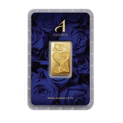 ทองคำแท่ง 1 บาท ลายหัวใจ (การ์ดกุหลาบน้ำเงิน)
