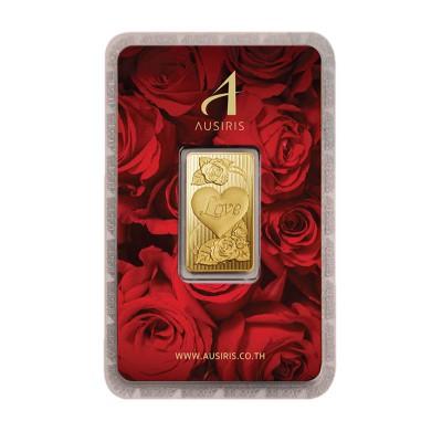 ทองคำแท่ง 1 บาท ลายหัวใจ (การ์ดกุหลาบแดง)
