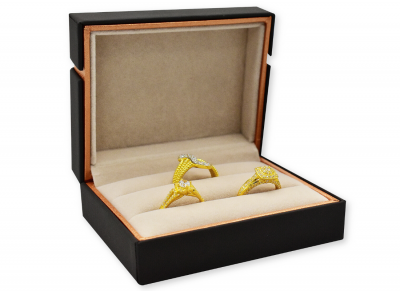 กล่องใส่แหวนคู่ สีน้ำตาล