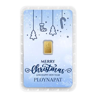 ทองคำแท่ง 1 กรัม Merry Christmas การ์ดสีฟ้า สั่งพิมพ์ชื่อ