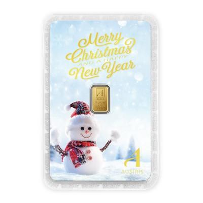 ทองคำแท่ง 1 กรัม Merry X'mas & HNY การ์ดสีฟ้า-Snowman
