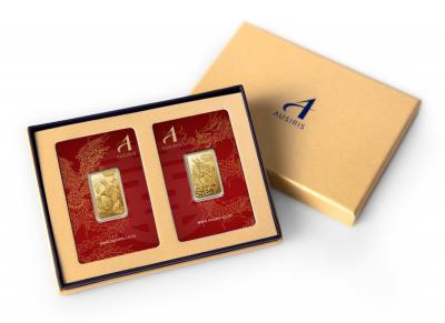 กล่องใส่ทองคำแท่งคู่ สีทอง