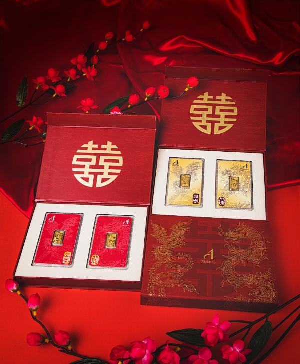 กล่องใส่ทองคำแท่งคู่ เซ็ทหงส์-มังกร พลังแห่งพรหมลิขิต