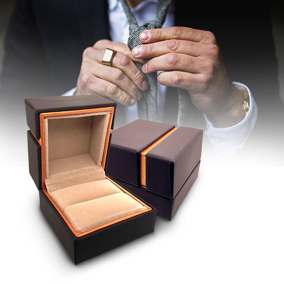 กล่องใส่แหวนเดี่ยวสีน้ำตาล